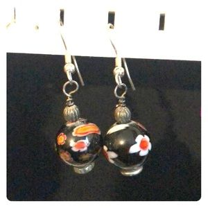 BALL FLOWER DROP EARRINGS